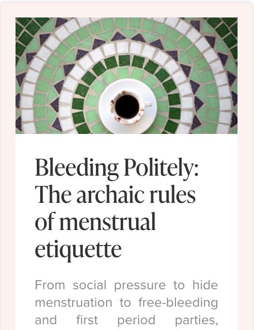 Menstrual Etiquette Article, photo by Vulvani